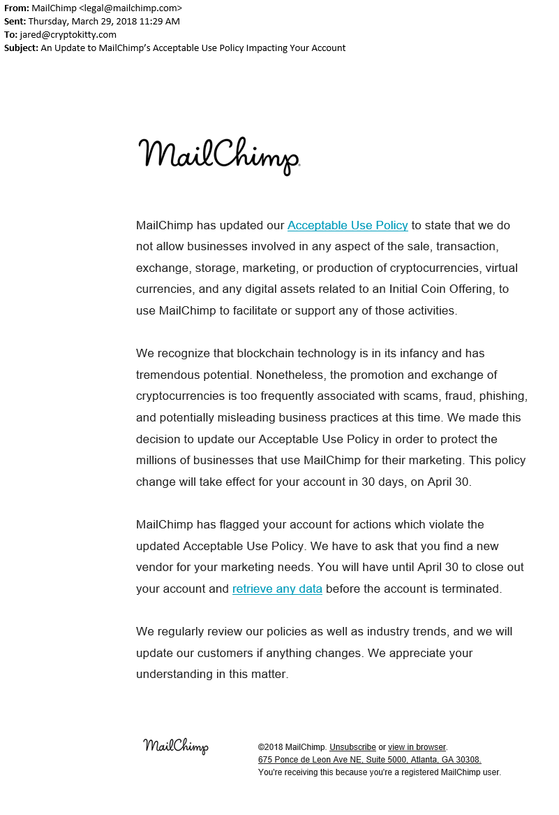 MailChimp Polite Cease and Desist